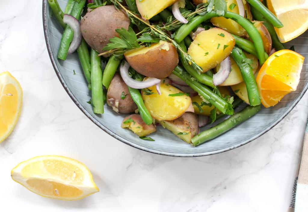 Grüner Bohnensalat mit Kartoffeln und Orangen-Dressing - vegan, glutenfrei, ohne Zucker, ohne Milch, rein pflanzlich und gesund
