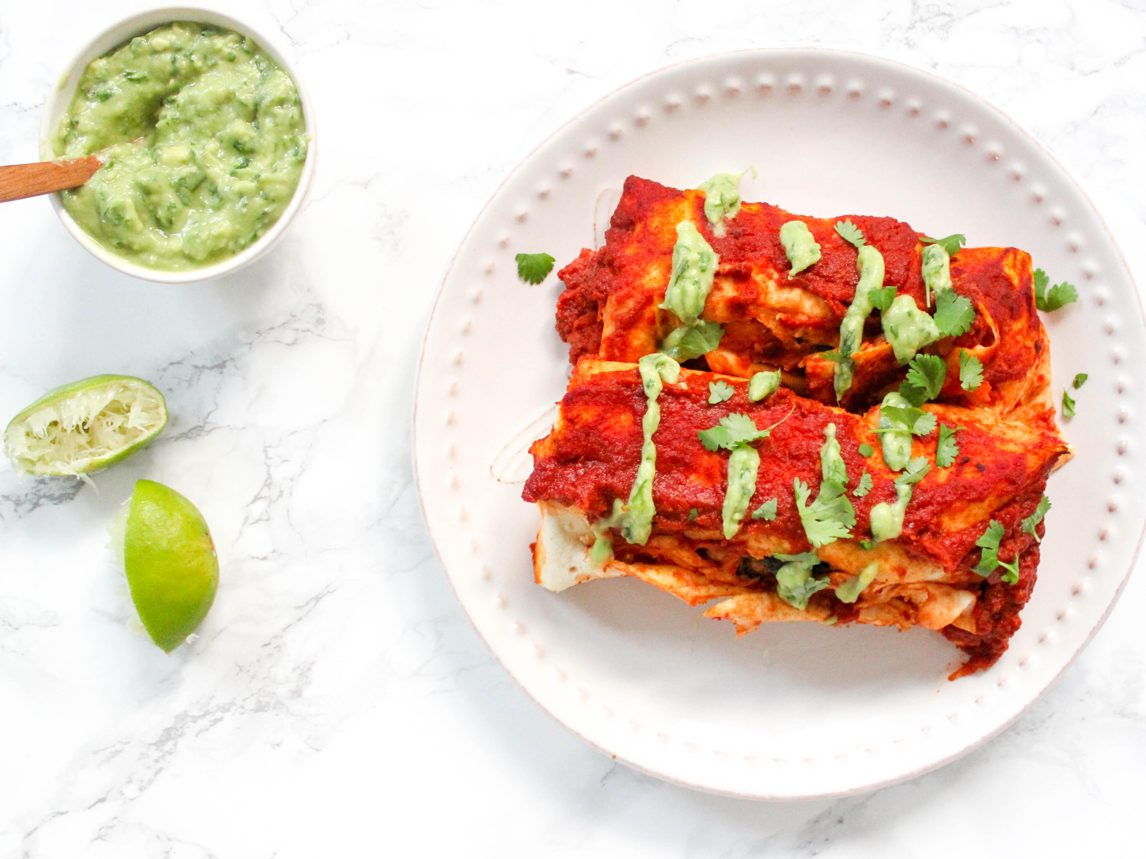 Süßkartoffel Kichererbsen Enchiladas