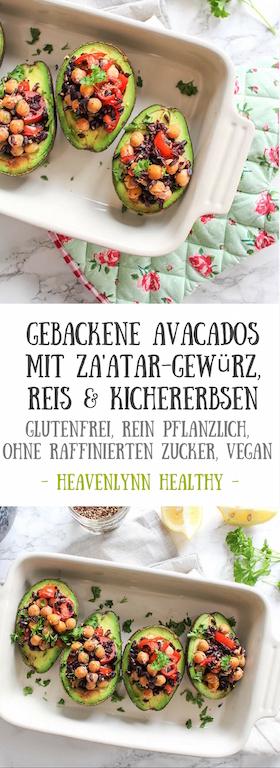 Gebackene Avocados mit Za'atar Reis und Kichererbsen - vegetarisch, vegan, glutenfrei, ohne raffinierten Zucker - de.heavenlynnhealthy.com