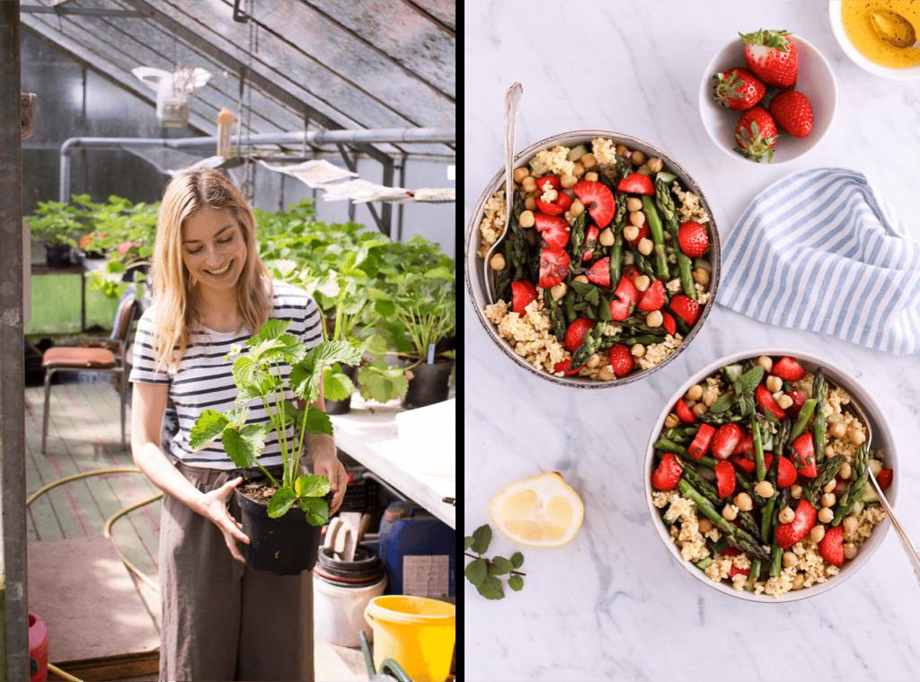 Erdbeer-Hirse-Salat mit grünem Spargel und Minze - rein pflanzlich, vegan, glutenfreie Option, ohne raffinierten Zucker - de.heavenlynnhealthy.com